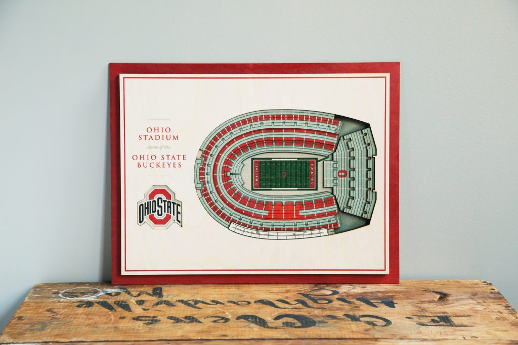 Ohio State's stadium comes to life in this wooden five layer stadium wall art from StadiumViews