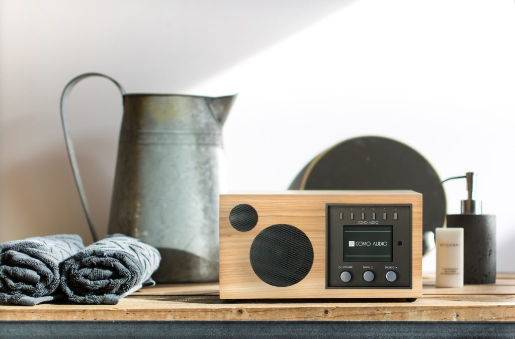A Como Audio smart connected hi-fi music system sits on a counter