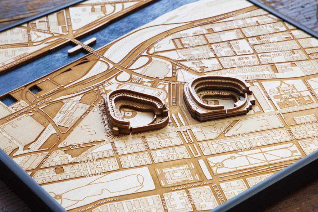 Stadium Map Art - laser cut wooden stadium city map art
