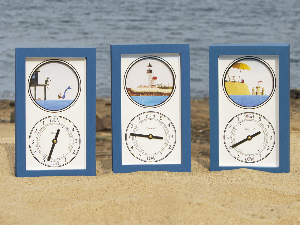 Tidepieces Tide clocks feature nautical scenes while keeping track of the tide changes