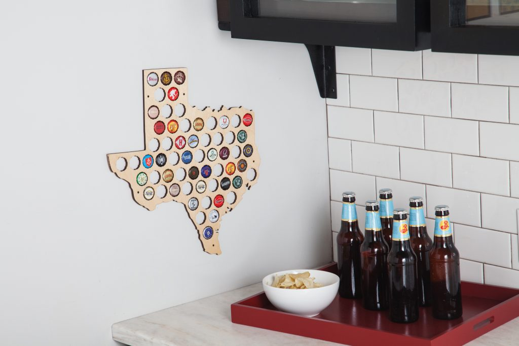 Torched Products beer cap bottle map - Texas