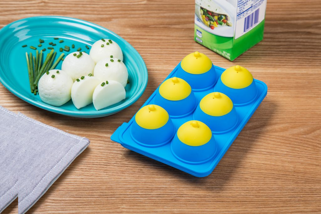 perfectly hard boiled egg whites without the shell, thanks to Eggibles