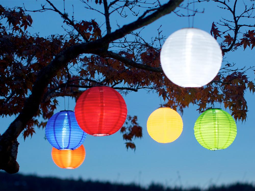 Multi colored solar lanterns from Allsop Solar hang in a tree at dusk