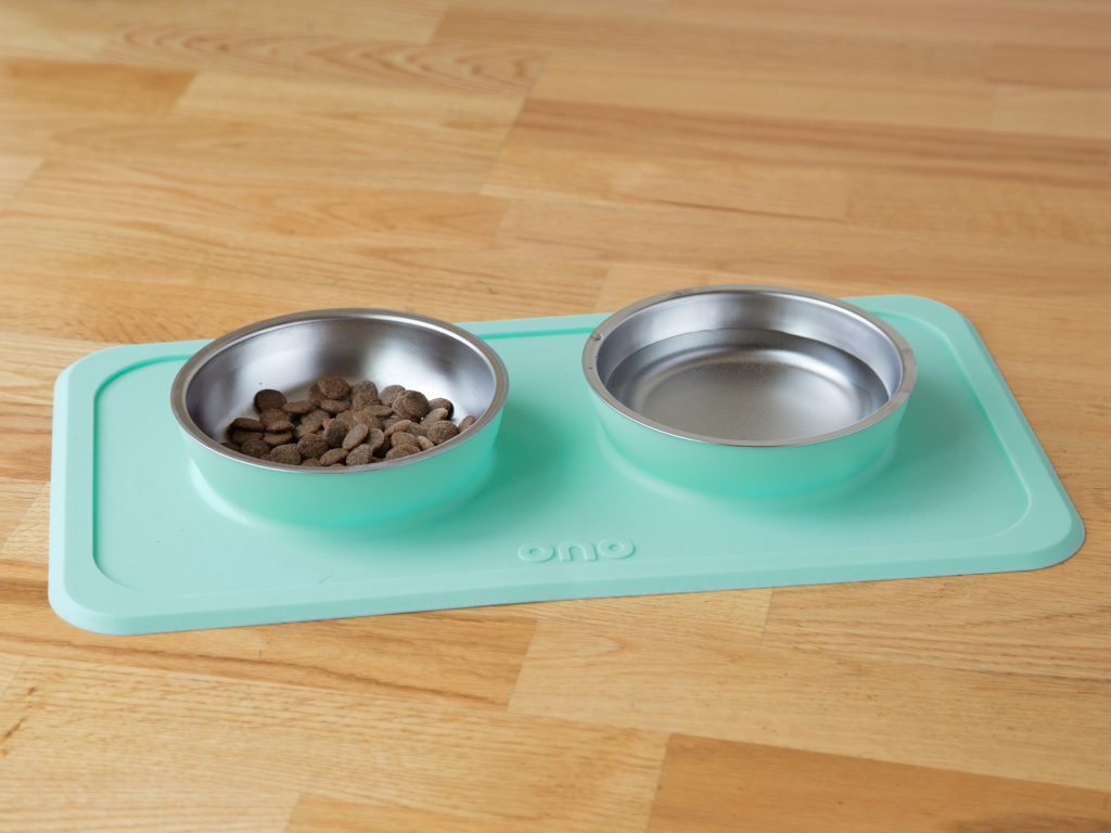A mint colored double non-slip pet bowl and mat set from Ono is seen with food & water in it