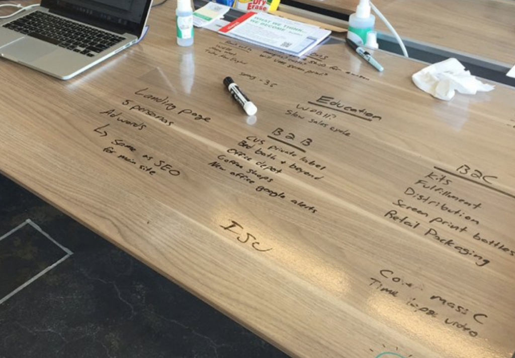 Notes are seen scribbled on a Think Board reusable idea surface, which is stuck to a wooden table