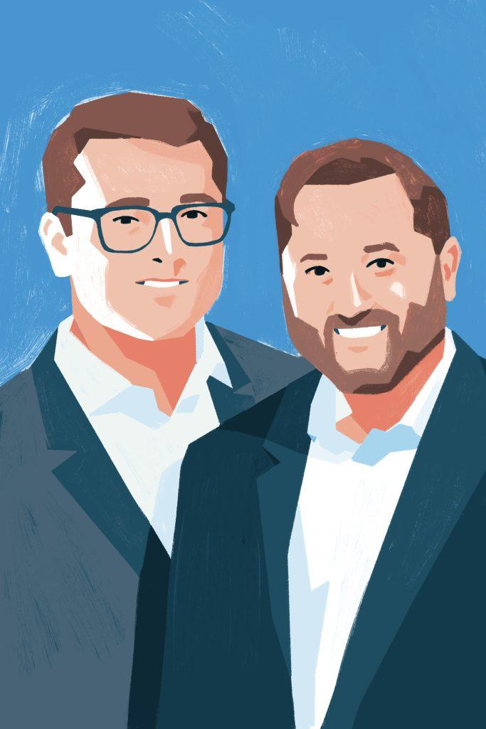 Illustration of Tedd Strom and John Litwinski of Chicago Comb Co.